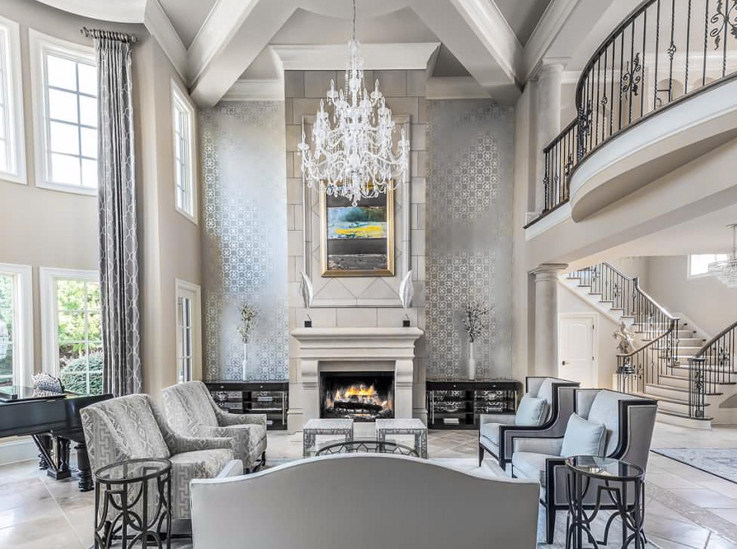 Elegant Grey And Beige Mediterranean Style Living Room Decor