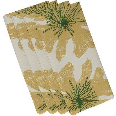 "Red Barrel Studio Broad Brook Decorative Napkin Size: 19""H x 19""W, Color: Off-White / Yellow / Green"