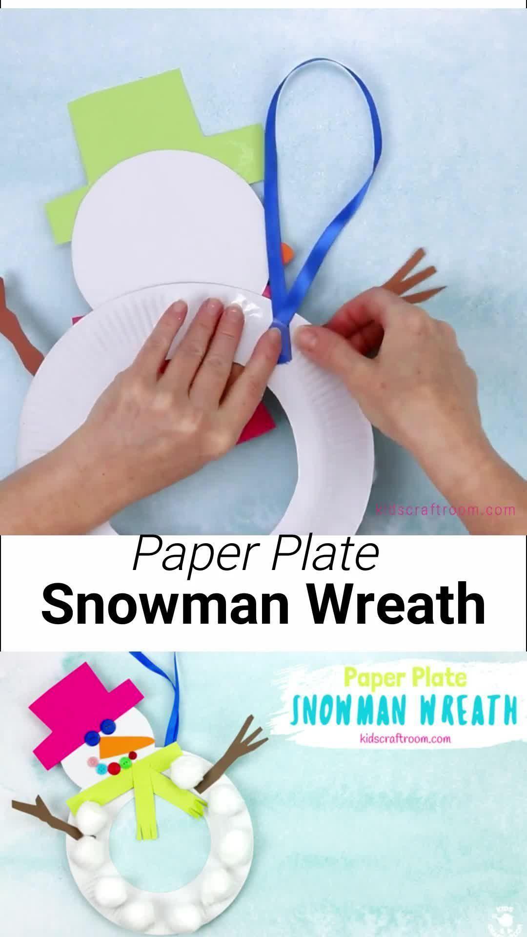 Paper Plate Snowman Wreath -   18 christmas crafts for kids preschool ideas