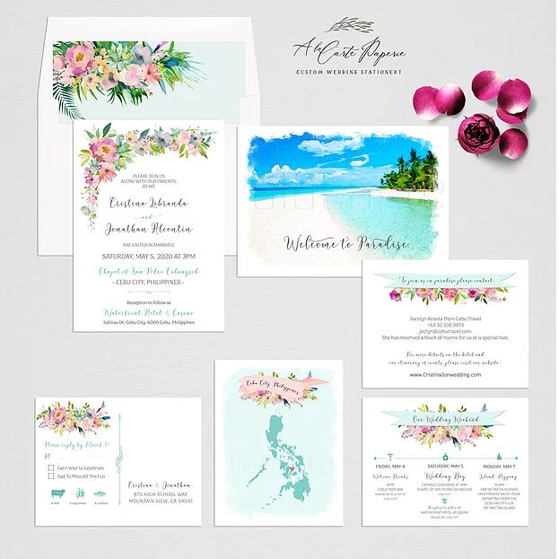 Philippines Cebu Watercolor Illustrated Destination Wedding Invitation In 2020 Illustrated Wedding Invitations Destination Wedding Invitations Wedding Invitation Sets