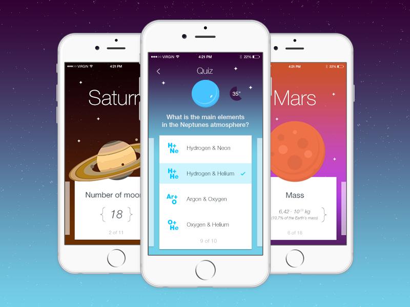 Space Quiz App | Quiz design, Mobile app design, App design ...