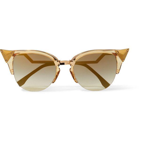 5380ab300687 Fendi Embellished cat-eye gold-tone and acetate sunglasses ( 520) ❤ liked