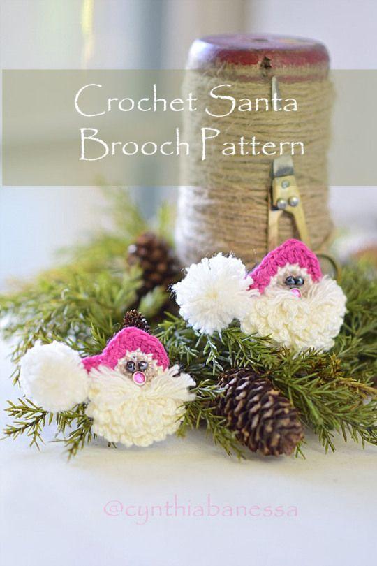 Crochet Santa Brooch Pattern Christmas Pinterest Brooches