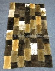 Wolf FUR ACCENTS Faux Fur Throw Blanket  Area Rug  Black and Brown Patchwork  Chinchilla Mink Fox Rabbit Coyote OOAK Bear