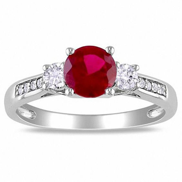 6 0mm Lab Created Ruby And White Sapphire Three Stone Ring In 10k White Gold With Diamond Accents Three Stone Engagement Rings Vintage Gold Engagement Rings Stone Rings