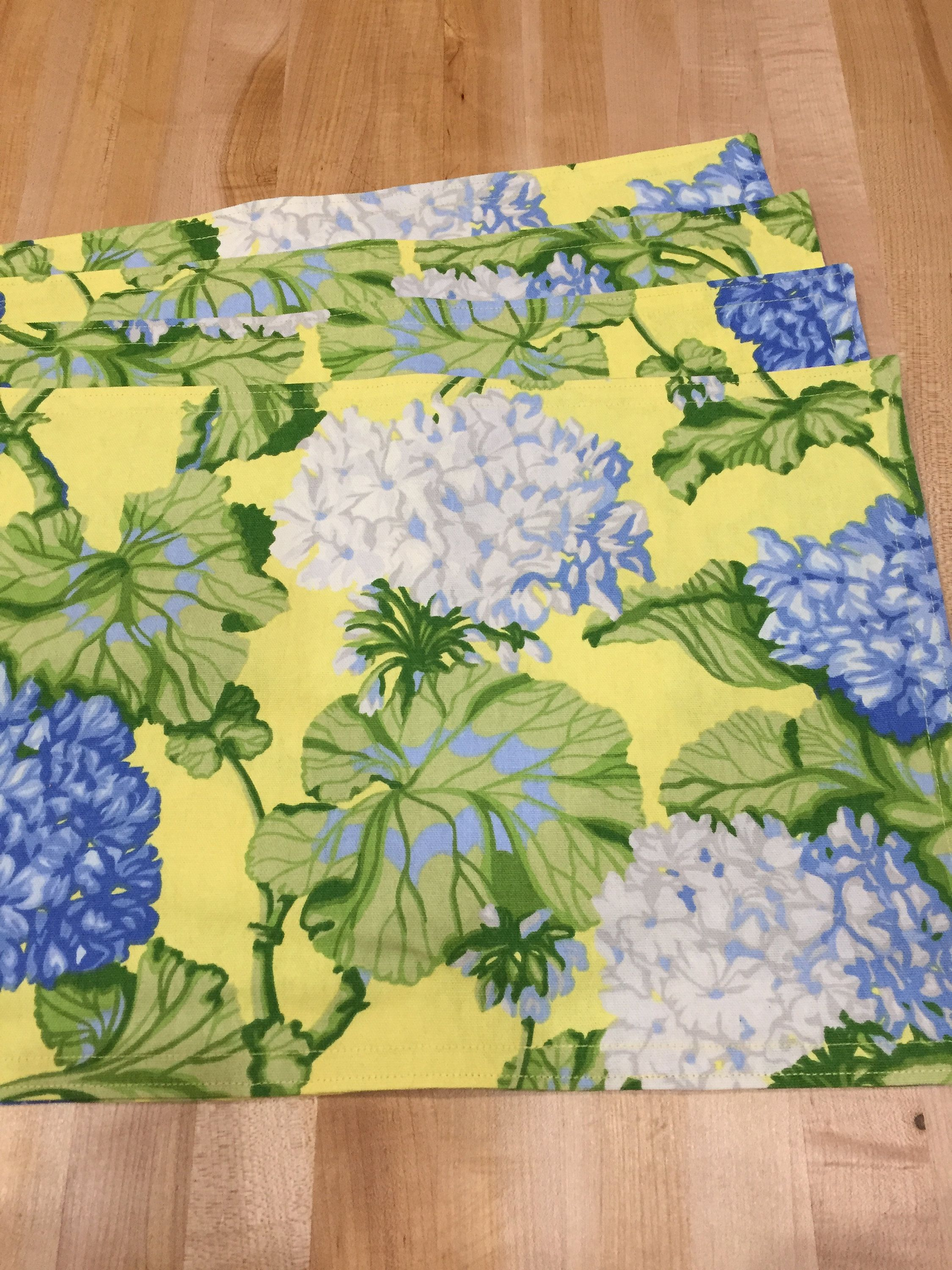 Cloth Placemats Blue And Yellow Floral Placemats Set Of 4 Reversible Placemats Cotton Handmade Spring Floral Placemats Placemats Yellow Floral