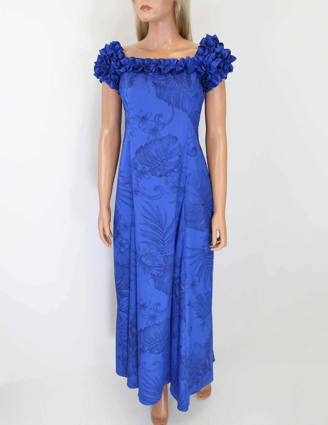 Check out the deal on Blue Long Ruffle Muumuus Dress Monstera Ceres ...