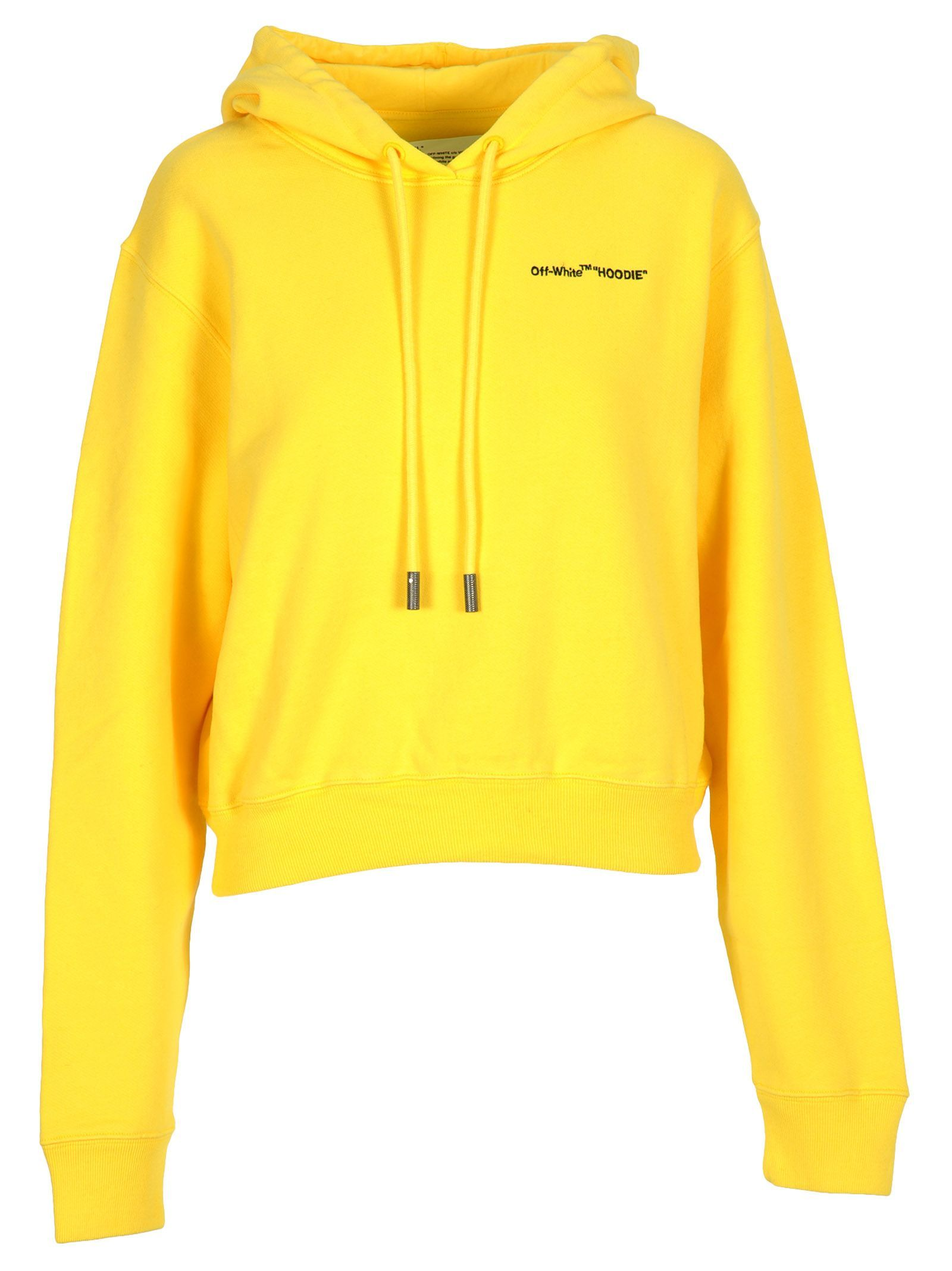 610211d204 Off-White - Off White Quotes Cropped Hoodie - YELLOW BLACK