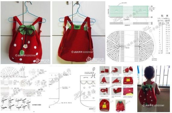 patron-para-hacer-muchila-crochet-fresa08 | crochet | Pinterest ...