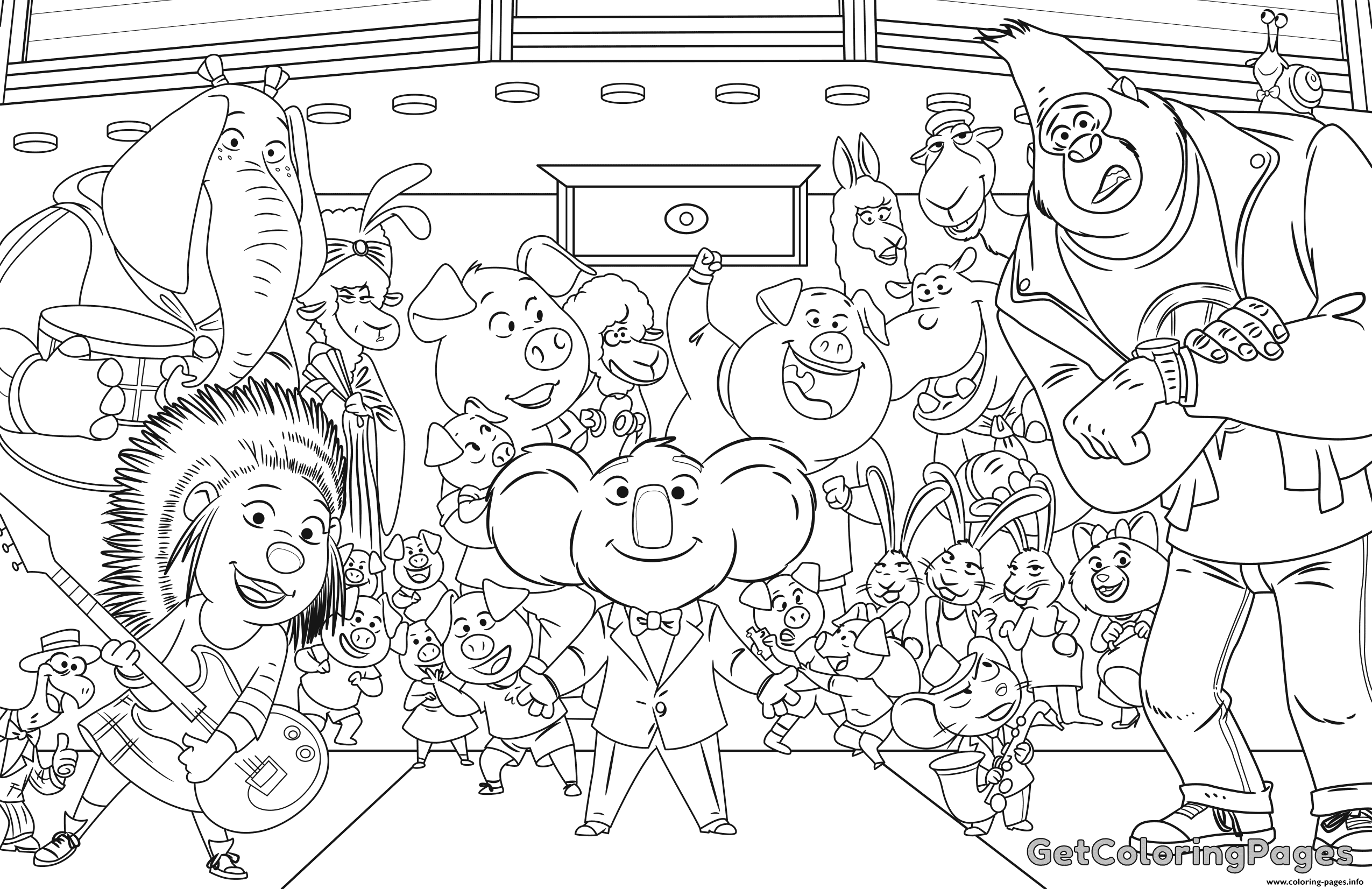Print Sing Colouring Page Coloring Pages Minion Coloring Pages Cartoon Coloring Pages Lego Movie Coloring Pages