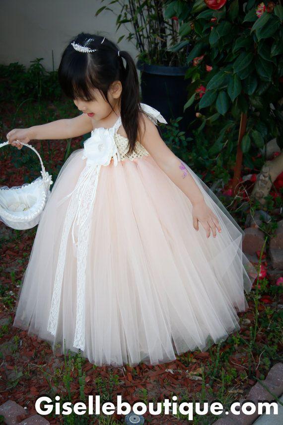 flower girl dress peach with lace tutu dressbaby tutu dress toddler tutu dress