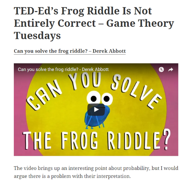 TEDEd's Frog Riddle Is Not Entirely Correct Game Theory