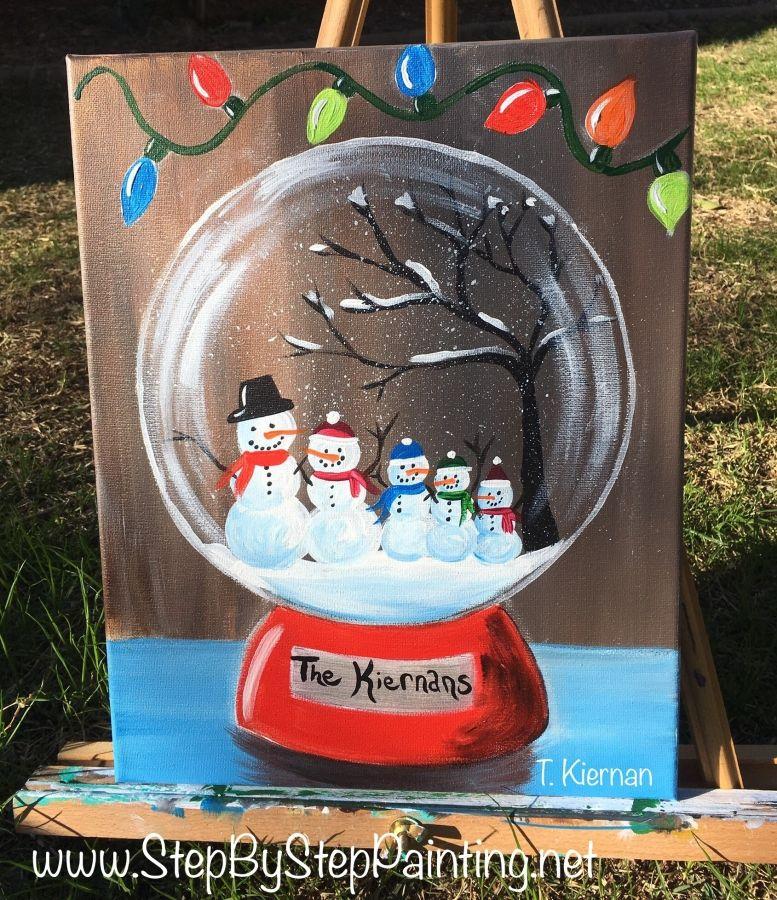 How To Paint A Snow Globe Christmas Canvas Christmas Paintings On Canvas Holiday Painting