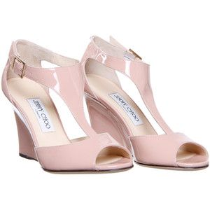 Jimmy Choo 'Token' Pale Pink Patent Leather Wedge Sandal