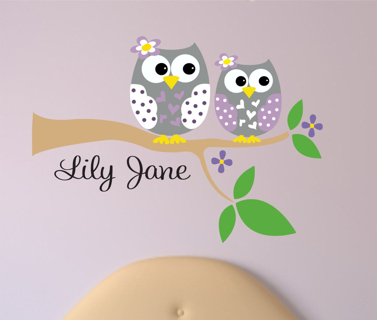 Childrens Decor Owl Wall Decal With Name   Owl On Branch   Baby Name Vinyl  Wall