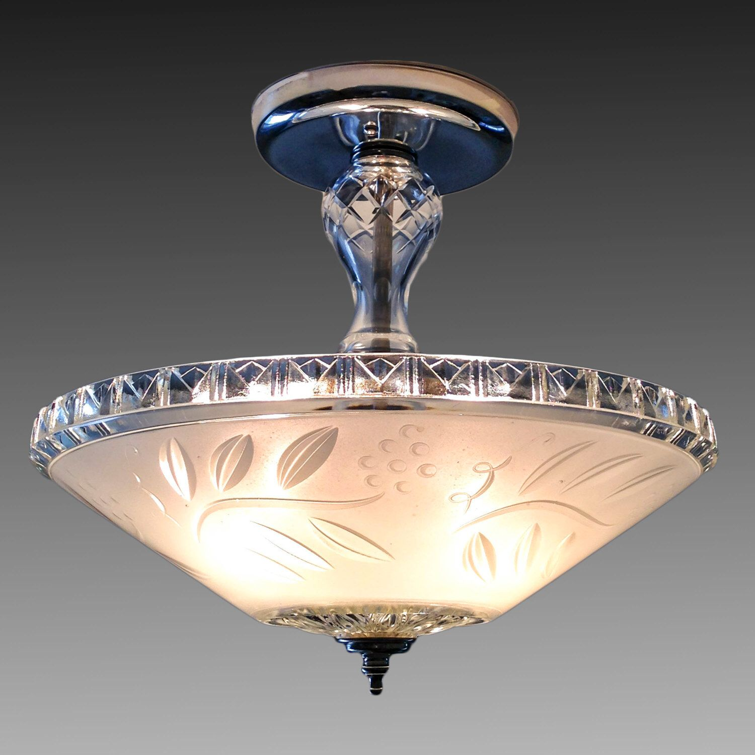 Reserved for alan frosted white 1930s 1940s glass shade frosted white 1930s 1940s glass shade vintage art deco antique chandelier ceiling light fixture nickel arubaitofo Gallery