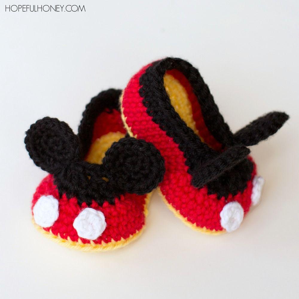 Mickey Mouse Inspired Baby Booties | Garn, Handarbeiten und Häkeln