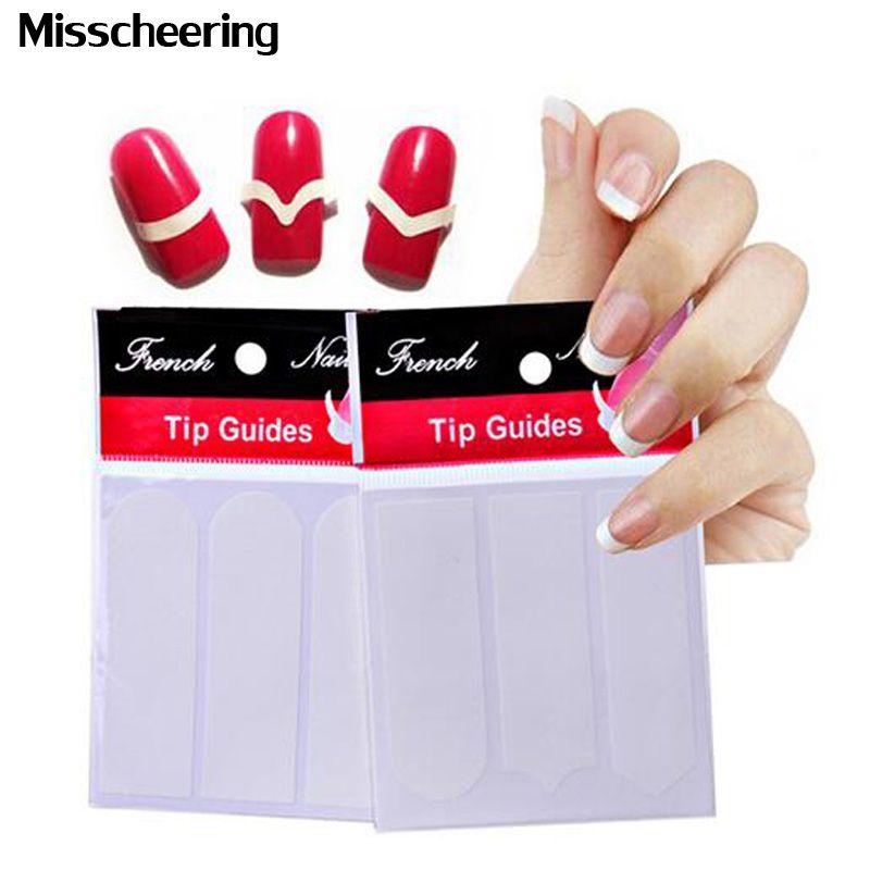 1pack Nail Art French Tip Guides Sticker Acrylic False Nail Tips ...