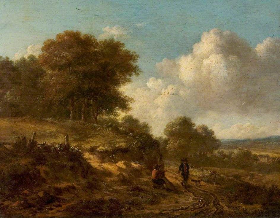Jan Wijnants - Landschap met boeren en een hond