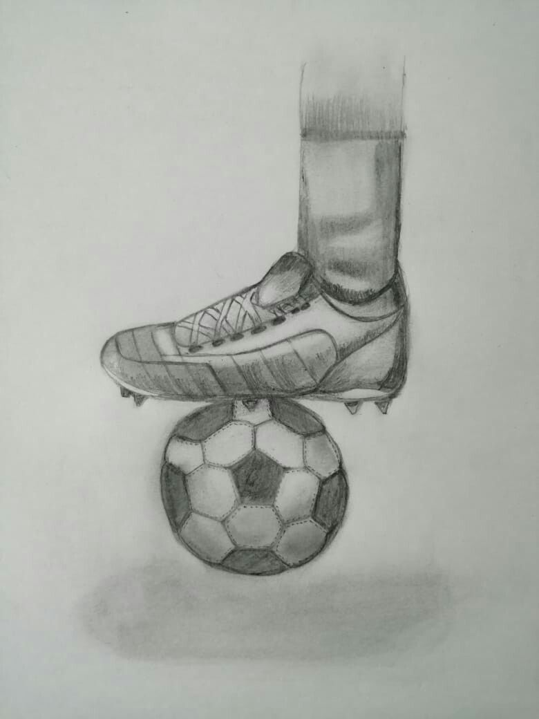 Soccer Ball With Shoes Pencil Drawing Pencil Drawings Drawings Soccer Ball