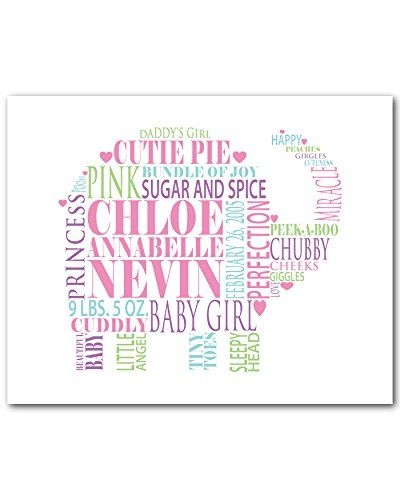 Personalized baby gift elephant typography print personalize this personalized baby gift elephant typography print personalize this cute elephant with babys name date negle Image collections
