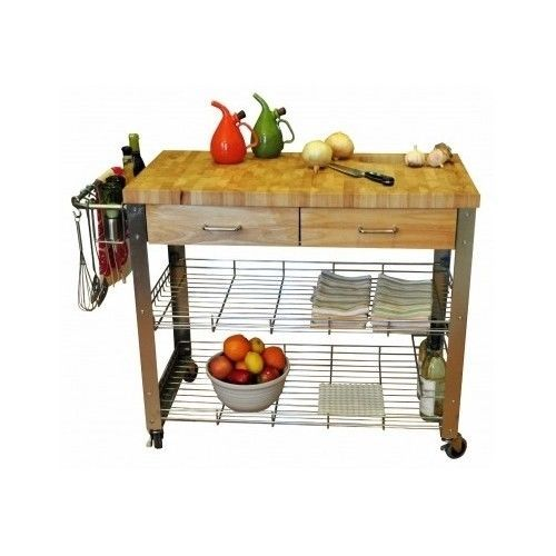 Butcher Block Kitchen Cart Cutting Board Table Island Utensil Storage  Drawers