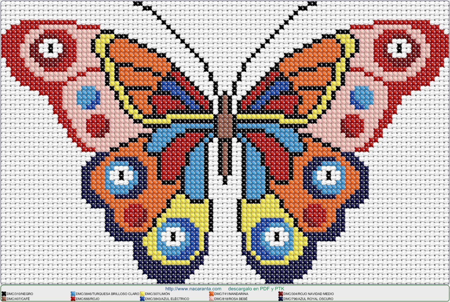 mariposa monarca EN PUNTO DE CRUZ, Cross stitch patterns ...