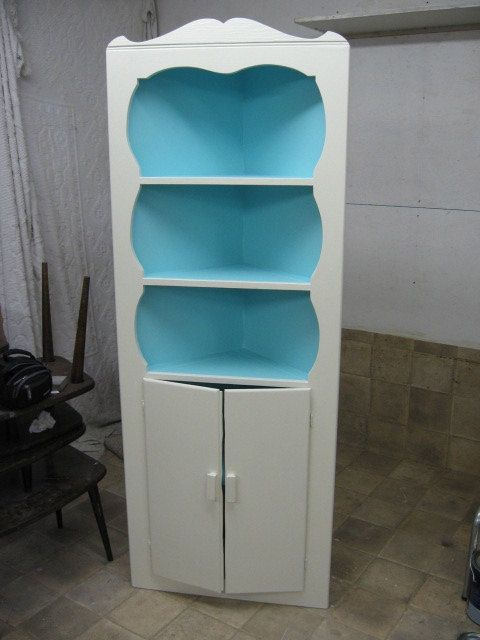 Vintage CORNER CABINET HUTCH Wooden China Book Storage Turquoise Blue and  White on Etsy, $150.00 - Vintage CORNER CABINET HUTCH Wooden China Book Storage Turquoise