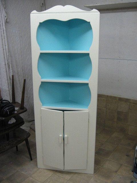 Vintage CORNER CABINET HUTCH Wooden China Book Storage Turquoise ...