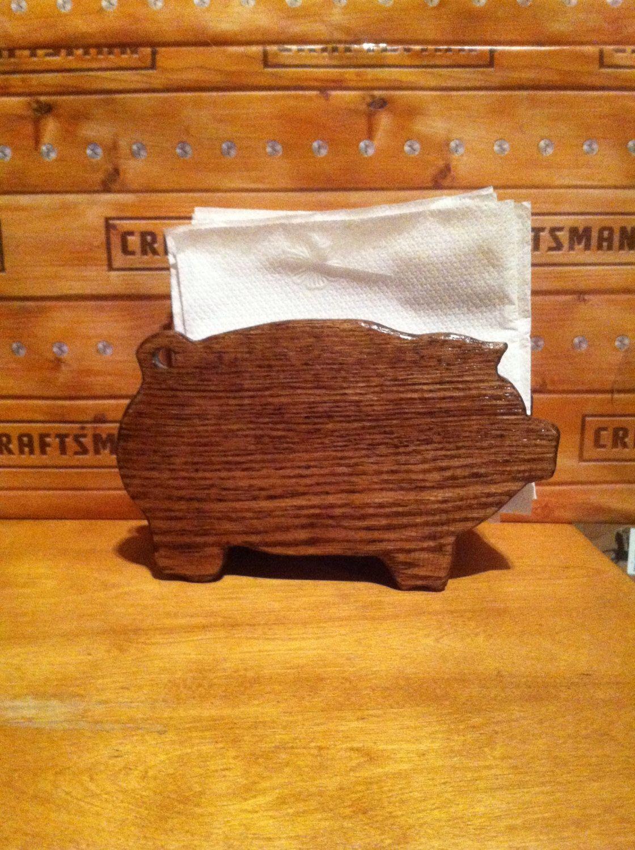 Pig napkin holder by WOODCHIPSandMORE on Etsy https://www.etsy.com/listing/217775125/pig-napkin-holder