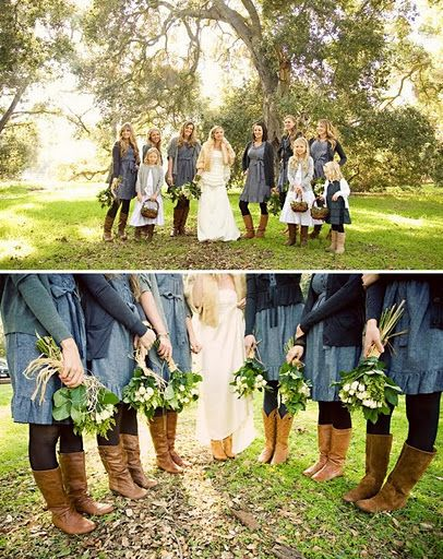 Love the boots on the bridesmaids