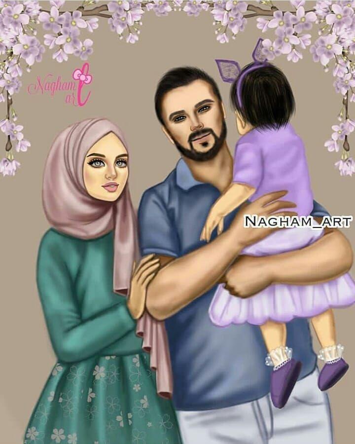 G I R L Y M On Instagram منشن للي تتمنيلها هيك عائلة Beautiful Girl Drawing Cute Muslim Couples Girly M