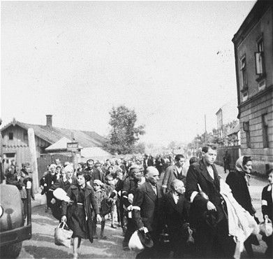 Jews being deported from the Rzeszow Ghetto