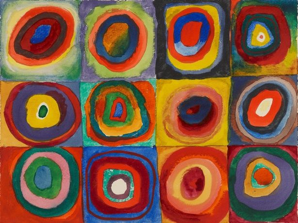 #baggspiration, 1913 never looked so modern...Vasily Kandinsky, Color Study—Squares with Concentric Ring