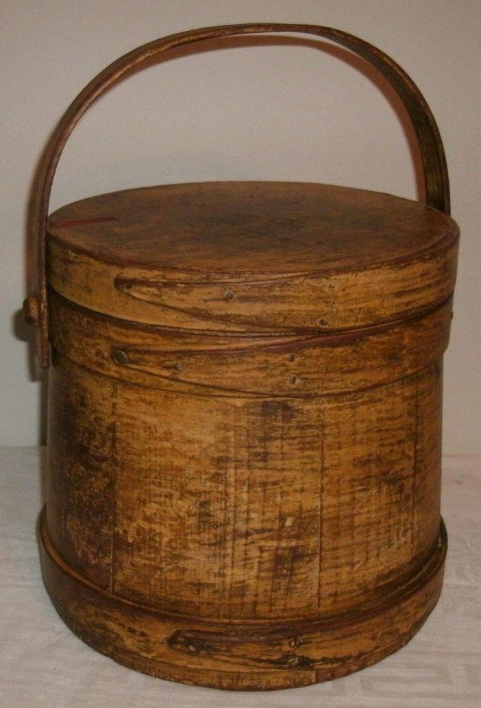 Antique 19th C Wooden Firkin Sugar Bucket In Early Mustard Paint Folk Art Aafa Primitive Decorating Country Country Decor Country Primitive