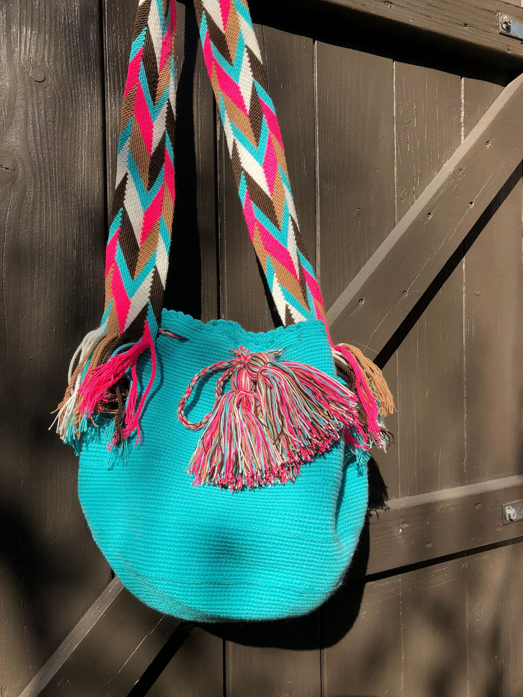 A Mano Tejido Wayuu Azul Bolso Colombia En Mochila Claro N0Xnwk8OP