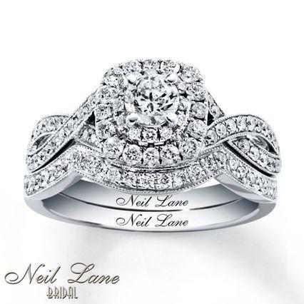 Superbe Kay   Neil Lane Bridal Set 7/8 Ct Tw Diamonds 14K White Gold