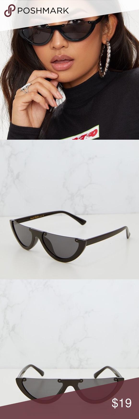 5391769798c Black Retro half frame sunglasses Black Rounded Half Frame Retro  SunglassesFinish off your ultra cool retro