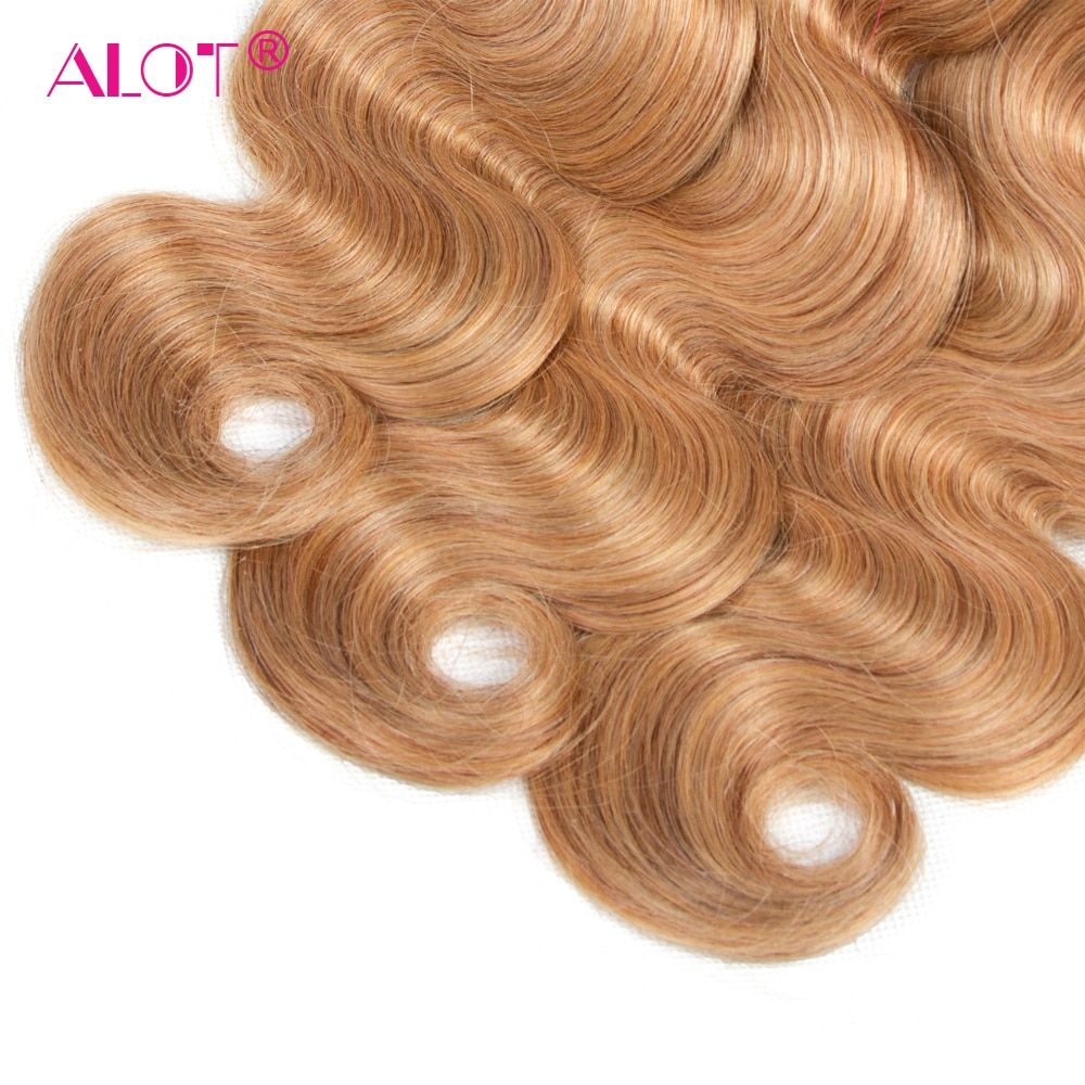 Guanyuhair #27 Honey Blonde Body Wave Malaysia Human Hair 3 Bundles With Frontal Closure 13x4 Ear To Ear Hair Extensions & Wigs 3/4 Bundles With Closure