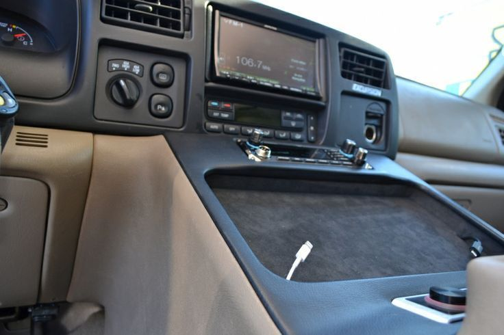 Custom Center Console Subwoofer Enclosure Tray Holds An Ipad And