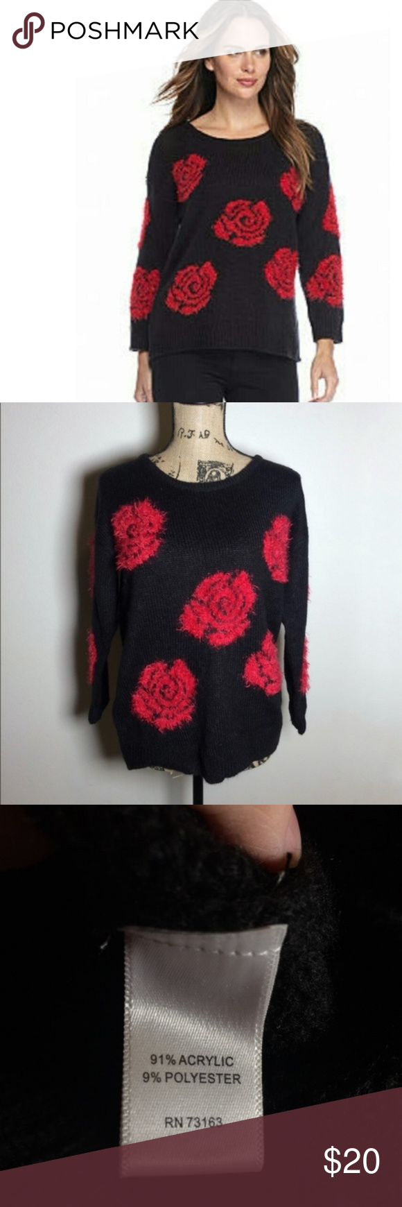 Cable Gauge Black Sweater Fuzzy Red Roses Medium My Posh Closet