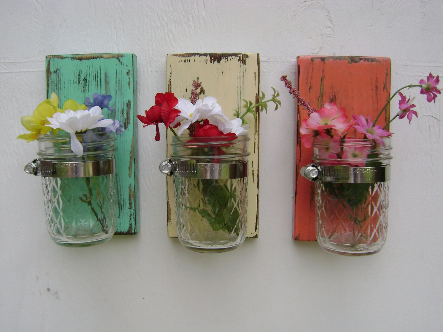 wall sconce shabby chic rustic wooden vases mason jar wood vase wall decor cottage decor - set ...
