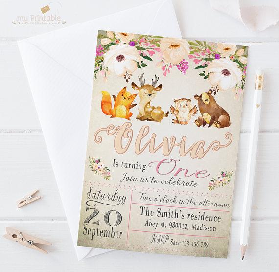 Woodland Birthday Invitation Digital Printable Invite For Kids First Party DIY 1st