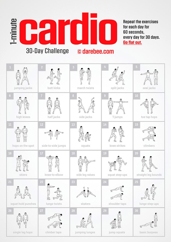 1 Minute Cardio Challenge by DAREBEE #darebee #fitnesschallenge #challenge #30da…
