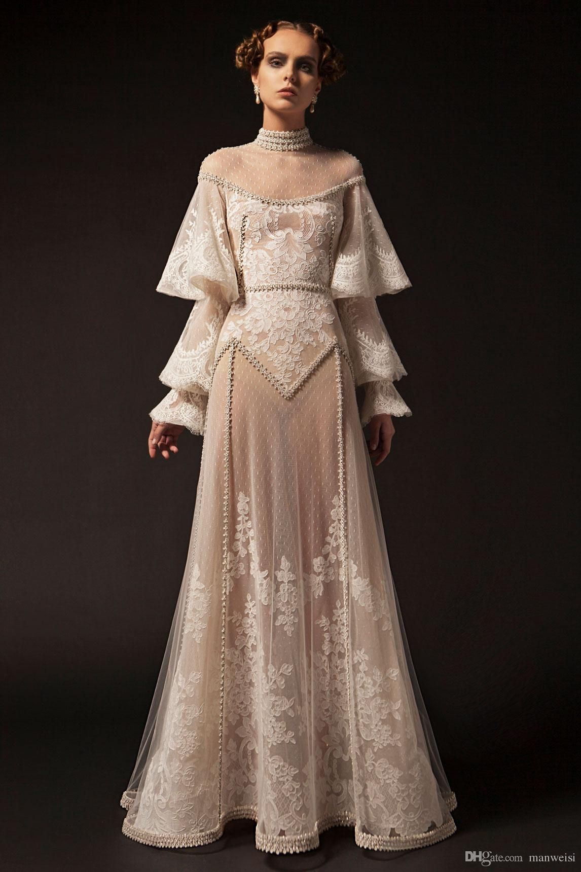 Krikor Jabotian 2019 New Prom Dresses High Neck Lace Applique Long Sleeve Beaded Formal Party Dress Vintage Pageant Evening Gowns From Manweisi 155 83 Dhgat After Prom Dresses 50s Prom Dresses Pageant Evening Gowns [ 1720 x 1146 Pixel ]