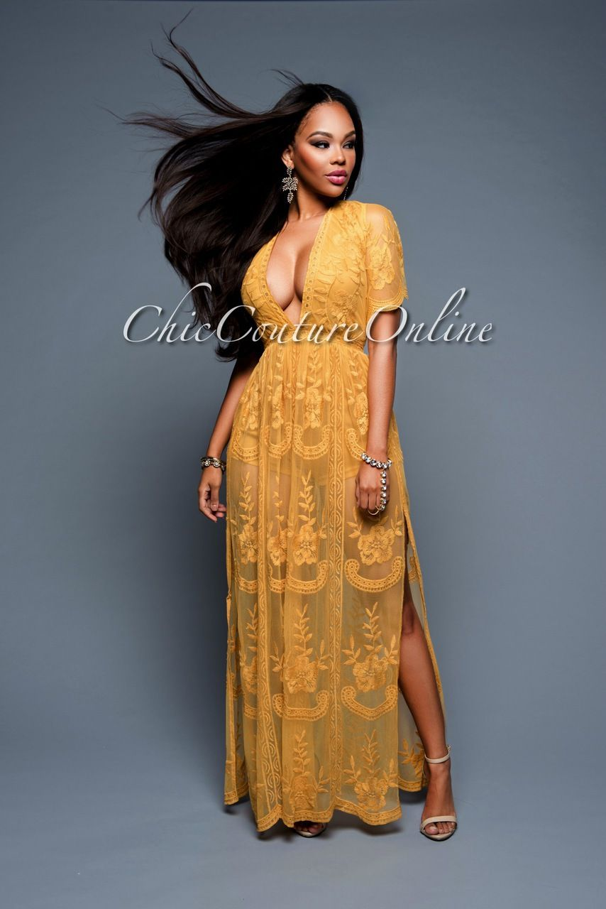 Chic Couture Online - DeRossi Mustard Yellow Lace Romper Maxi ...