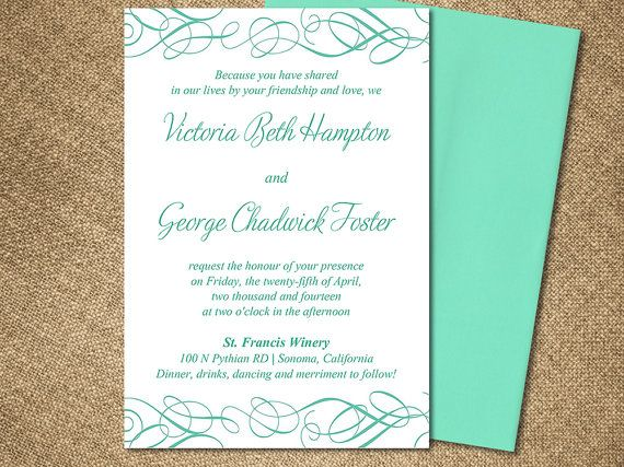 Whimsical Swirl Wedding Invite Microsoft Word Template Mint Blue Sea Green Flourish 4 5 X 6 5 Downloadable Wedding Invitation By Paintthedaydesigns Bryllup