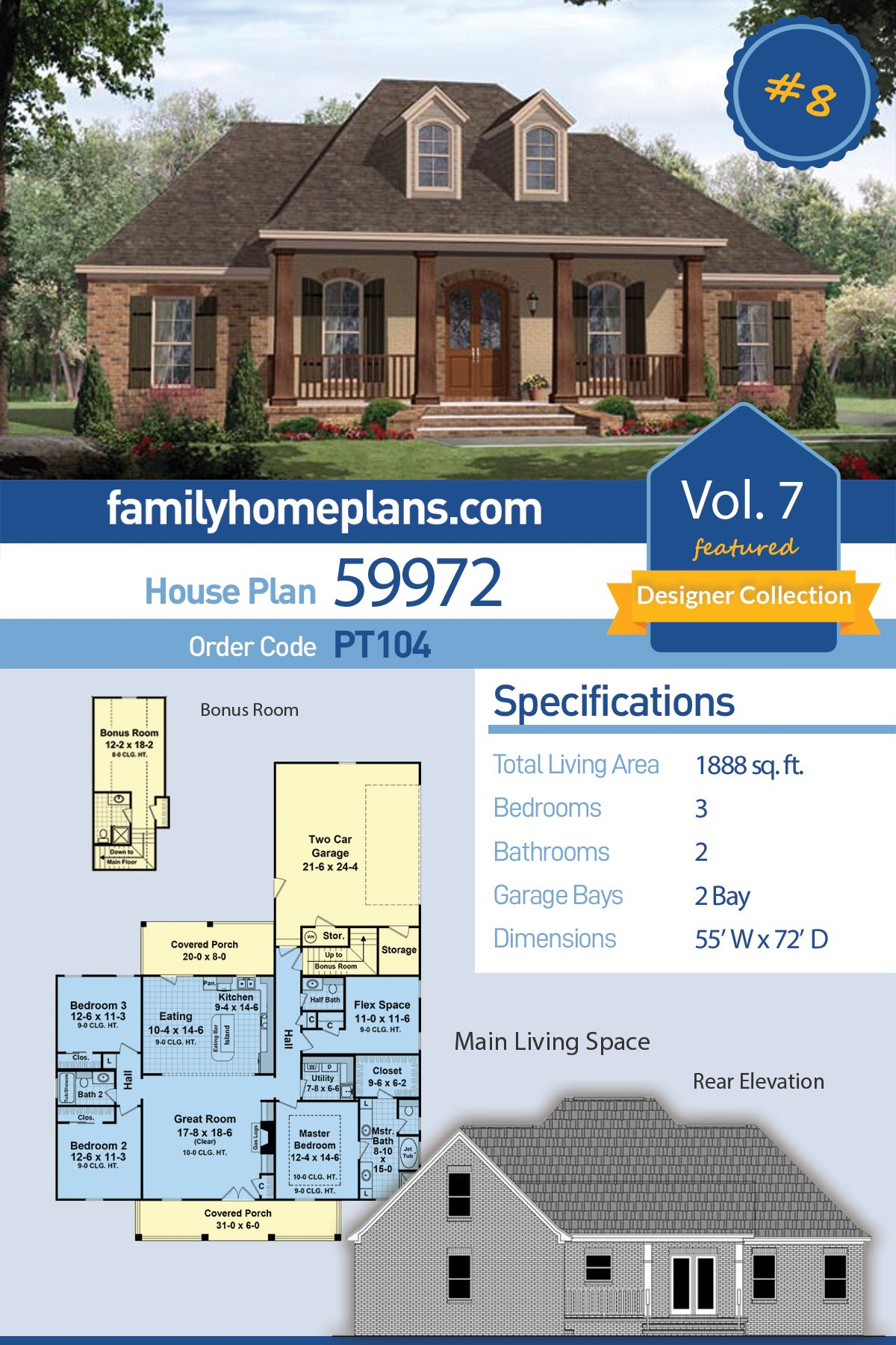 Traditional Style House Plan 59972 With 3 Bed 2 Bath 2 Car Garage Acadian House Plans House Plans Country House Plans