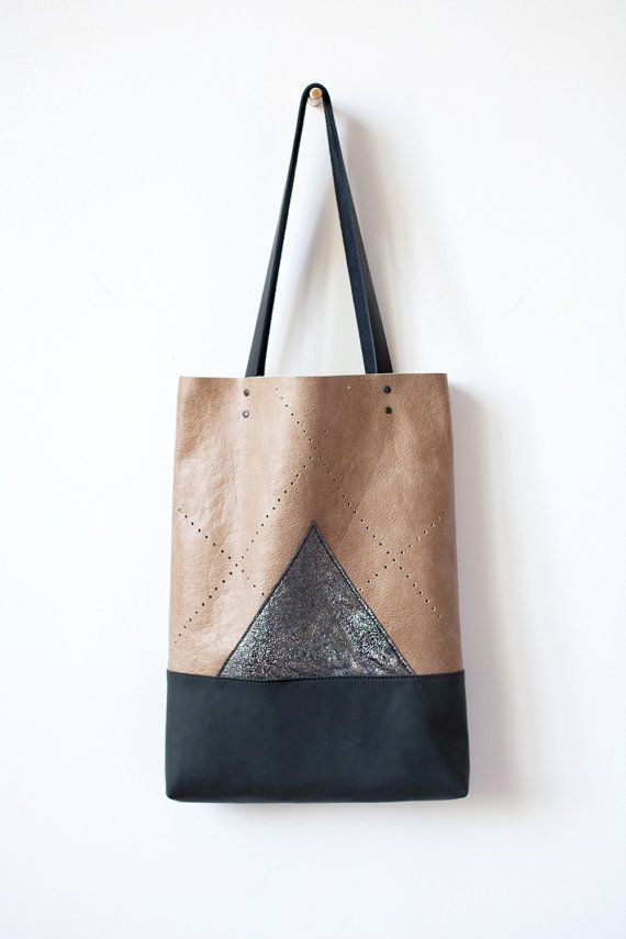 SALE Charcoal Mountain Leather Tote bag perforated No. by CORIUMI ...