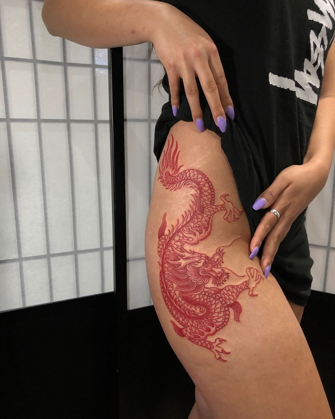 Red Dragon Hip Tattoo Red Tattoos Dragon Tattoo For Women Red Ink Tattoos